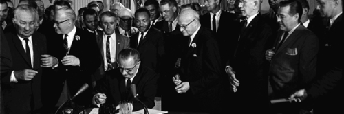 u.s. president lyndon johnson signs 1964 civil rights act