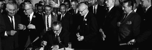 u.s. president lyndon johnson signs 1964 civil rights act