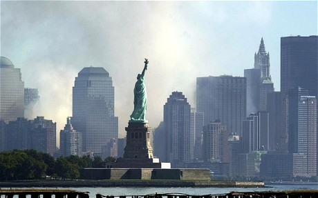 Statue of Liberty Against New York Skyline